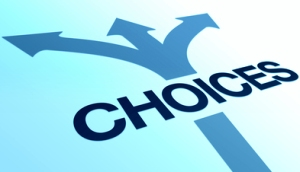 High resolution perspective graphic of the word choices.